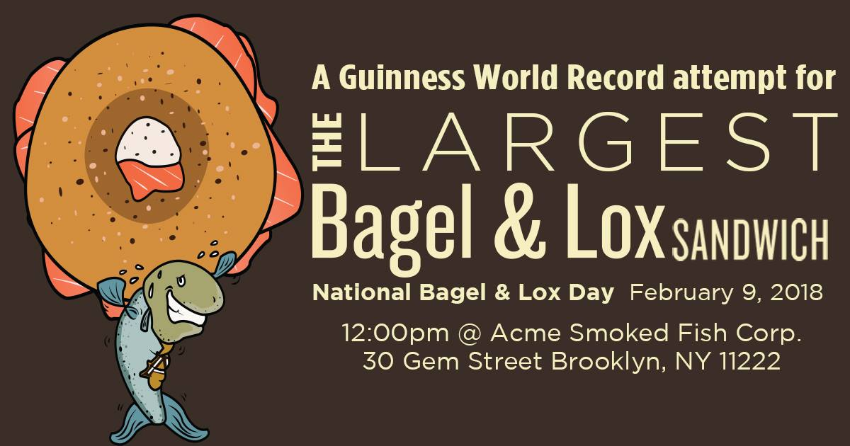 Witness a world record attempt for the largest bagel lox for Acme fish friday